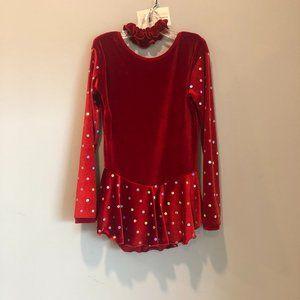 Figure Skating Red Velvet Sequin dress